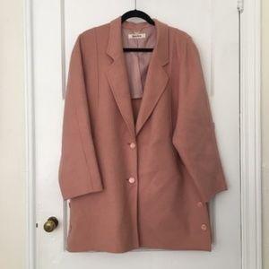 Pink felt and wool oversized blazer car coat